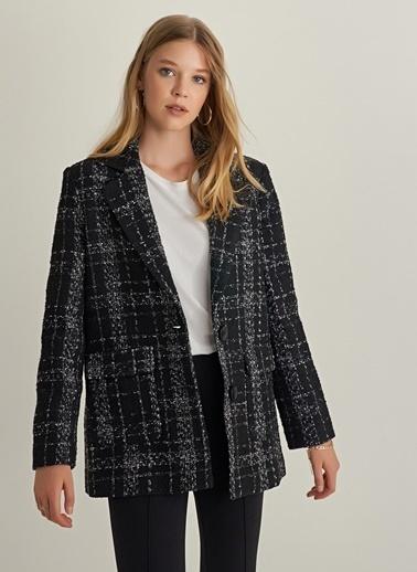 Monamoda Buklet Kumaşlı Yünlü Ceket Siyah